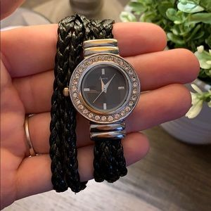 Accessories - Black braided double wrap watch